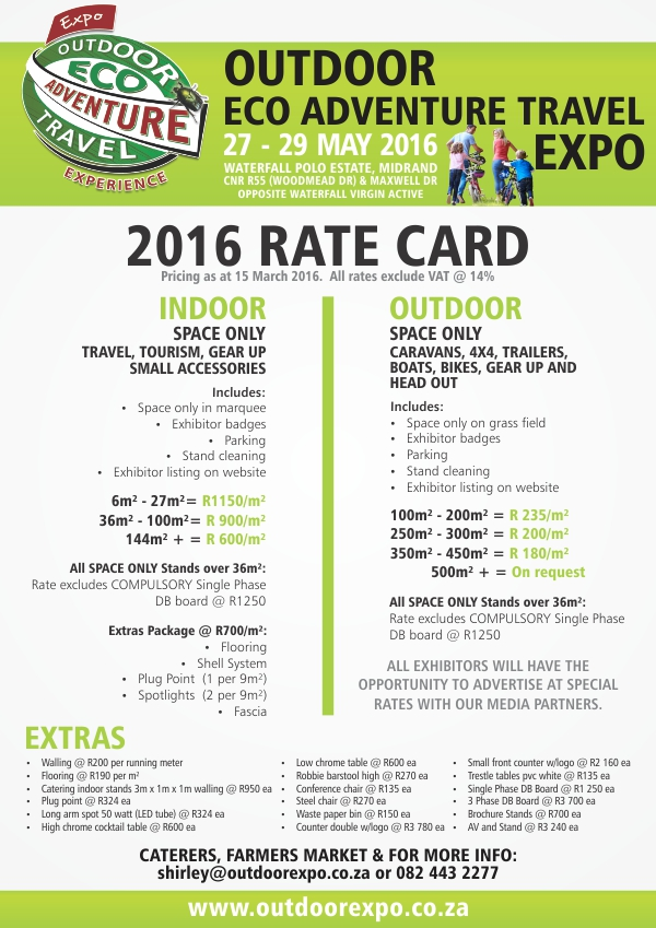 Outdoor Expo Rate Card 2016
